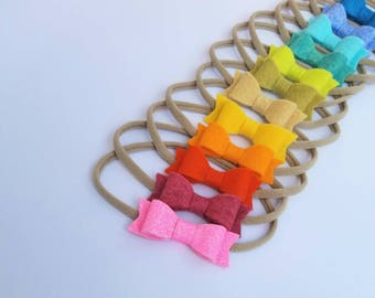 Sunset RAINBOW Set of 12 Baby Bows nylon headbands