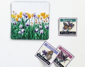 Tulip Garden Magnet, 2 x 2 Inch Refrigerator Magnet, Yellow and Purple Tulips, Watercolor Nature Magnets, Stocking Stuffer, Gifts for Mom