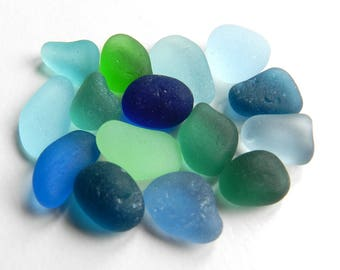 Mixed Blues and Greens English Sea Glass Pieces for Rings