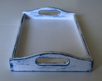 White and Navy blue Wooden Tray-Breakfast Tray-Wood Serving Tray-White Wooden Tray-Distressed Tray-Decorative tray-Ottoman Tray