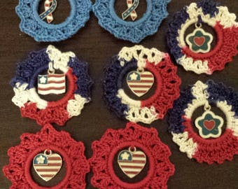 Crocheted  8 AnyTime Ornaments patriotic flag hesr ribbon flower   inventory clearance