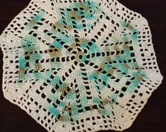 Octagon small crocheted doily hand dyed thread aqua and sage 8 inch