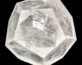 Dodecahedron D12 Clear Quartz Crystal Sacred Geometry Platonic Solids D12