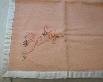 Peach Pink Hand Embroidered Heirloom Pure Wool Baby Cot/Bassinet/Pram Blanket/Coverlet - Lovingly hand made