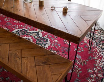Herringbone Hairpin Dining Table
