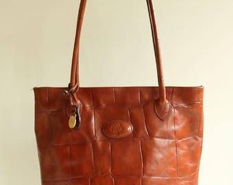 Mulberry Handbag in Brown Crocodile Embossed Leather