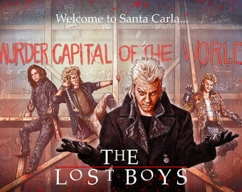 "The Lost Boys 30th tribute illustration A3 print ""Welcome to Santa Carla"" RED"