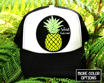 Hawaiian Pineapple Trucker Hat / cap, mesh, Christian hat, Christian apparel, women's hat, women's trucker hat, Christian trucker hat