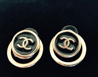 2 DESIGNER BUTTONS REPURPOSED, to create new jewelry, Can be worn 2 ways, Chanel inspired  C84-5