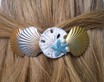 Seashell Hair Barrette, French Hair barrette, Women's