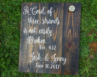 A cord of three strands Wood Sign~ Wedding Ceremony~ Unity Ceremony Sign~ Rustic Wedding Decor~ Verse Wood Sign~ Ecclesiastes 4 12