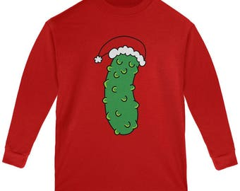 Christmas Pickle Youth Long Sleeve T Shirt