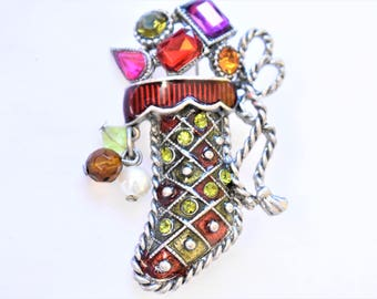 """Vintage Enamel Rhinestone Christmas Holiday Toy Stocking Statement Brooch Coat Sweater Pin Marked KC Kenneth Cole 2"""""""
