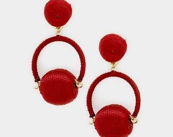 Bon Bon Earrings, Mini Bon Bon Earrings, Ball Drop Earrings, Thread Ball Hoop Earrings, Hoop Earrings, Thread Wrapped Hoop Earrings