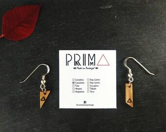 Drop/Dangle Lightweight Assimetric Wood Earrings, 925 Sterling Silver, Portuguese Chestnut