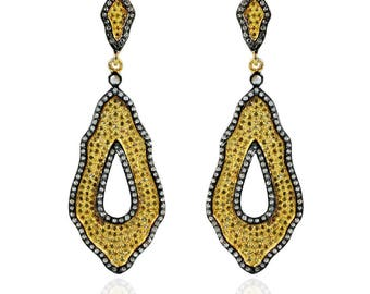 SDE1739 - Silver pave diamond earrings