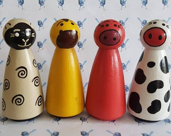 Wooden Peg Dolls - Farm Animals