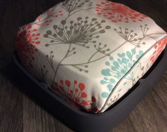 Cricut Easy Press Custom Handmade Dust Cover Blue, Coral and Gray Dandelion with Gray Piping