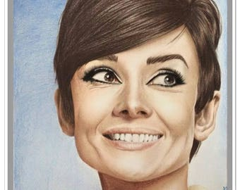 "portrait in colors of ""Audrey Hepburn"""
