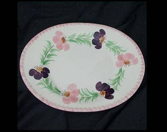 "Blue Ridge Platter FLOWER WREATH 9.5"" x 12"" Deep Well Serving Dish Hand Painted Dinnerware Tray ~ Hard to find! (B29) 8054"