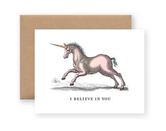 I Believe in You Card / Vintage Unicorn Illustration