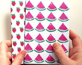 Notebook Set, Strawberry Notebook, Watermelon Notebook, Strawberry Print, Notebook A6, Plain Paper Journal, Plain Paper Notebook