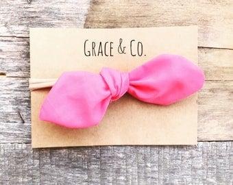 Bright Pink Baby Knotted Bow Headband || Stretchy, thin, kne-size baby headband