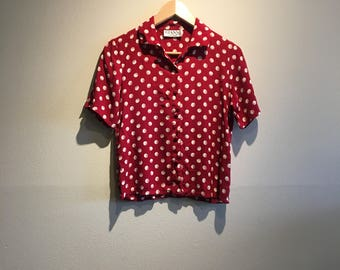 Red Polka Dot Blouse - Women's Small