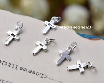 5 sterling silver cross charms pendants YX1