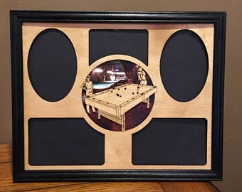 11x14 Pool Table Laser Engraved Picture Frame with 5 Photo Holes Matte Collage Color Background can be changed,hanger included
