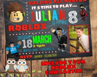 Roblox Birthday Invitation with Photo and YOUR Roblox character! Personalized
