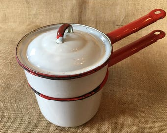 Antique double boiler enamelware pots