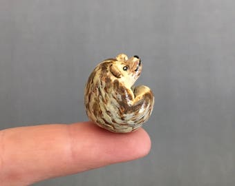 Tiny Hedgehog Pocket Totem Wildlife Figurine Handmade Sculpture