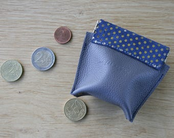 Click closure leather wallet-, size S grained leather taupe and Navy Blue Suede with gold dots