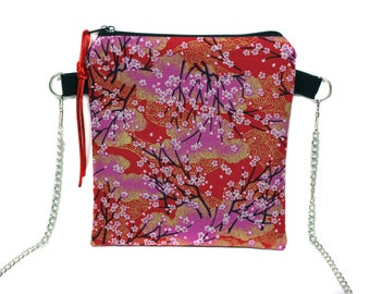 Mini clutch for evening with Japanese fabric chain