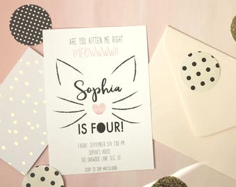 Printable Are You Kitten Me Right Meow Birthday Invitation