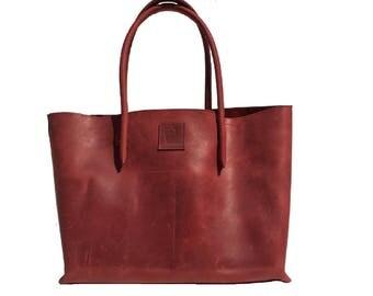 Leather bag/Big shopper/Ledershopper/Ledertasche Red/vintage used look handmade