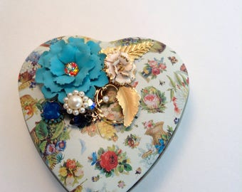 Vintage Jewelry Embellished Heart Tin, Valentine's Day Gift, Altered Tin, Free Shipping