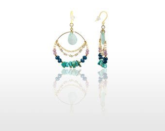 Shell and Turquoise Circle Earrings