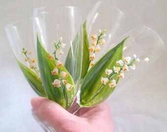 """Un bouquet de flûtes en verres-fleurs """"Muguet"""" peint à la main C.Kim"""