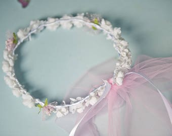 Shabby chic fabric flower Crown