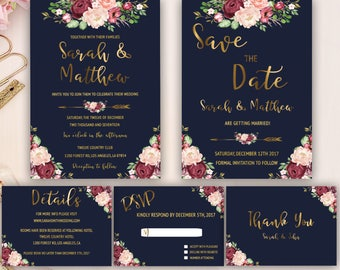 romantic wedding invitation, marsala floral wedding invitation, blue and gold foil, burgundy, marsala wedding invitation suite, rose