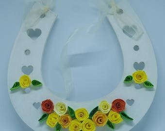 Quilled art, quilled horseshoe, lucky horseshoe