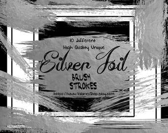 Silver Foil Brush Strokes Clip Art Silver Foil Strokes Silver ClipArt Digital Resource Silver Foil Logo Design 10 Elements Instant Download