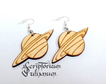Saturn earrings, planet earrings, Capricorn gift, January birthday gift, girlfriend gift, party jewelry,wooden earrings,Valentine's day gift