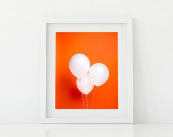 White Balloons on Orange Pop Art - Bright and Fun Kids Artwork