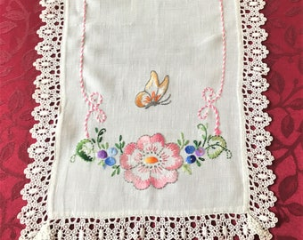 Vintage Table Runner Embroidery and Lace Edge, Cottage Chic Table Runner, Linen Table Runner Embroidered Flowers and Butterflies Lace Edge