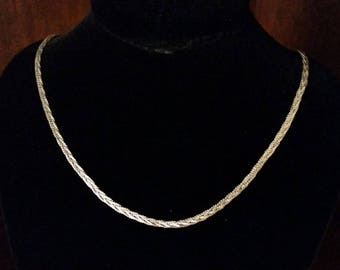 Italian Sterling Silver Braided Chain Necklace