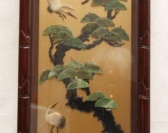 Cut Stone Wall Panel, Rosewood Like Frame, 30 Jade Fans, Standing and Flying Cranes, Rare