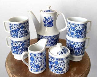 7 Piece, Vintage, 1970's, Made in Japan, Blue and White, Floral-Motif, Tea Set, Coffee Set